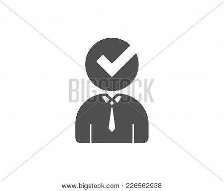 Human Silhouette With Check Simple Icon. Business Or Education Concept Sign. Quality Design Elements