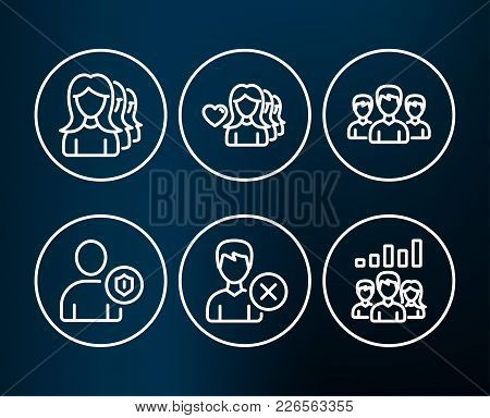 Set Of Women Headhunting, Woman Love And Group Icons. Remove Account, Security And Teamwork Results