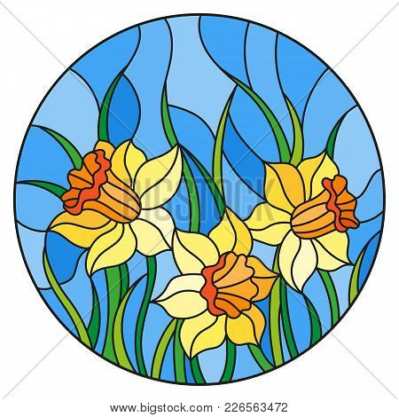 Illustration In Stained Glass Style With A Bouquet Of Yellow Daffodils On A Blue Background, Round I