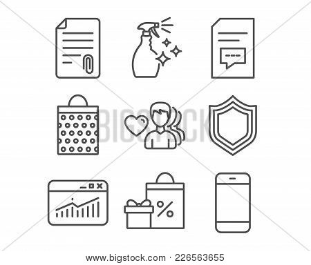 Set Of Shopping Bag, Website Statistics And Security Icons. Comments, Man Love And Attachment Signs.