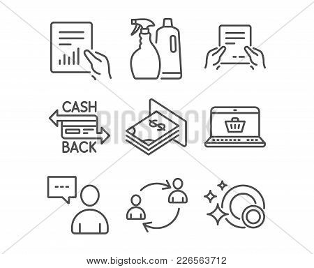 Set Of Shampoo And Spray, Users Chat And Online Shopping Icons. Cashback Card, Document And User Com
