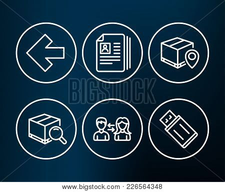 Set Of Parcel Tracking, Search Package And People Communication Icons. Cv Documents, Left Arrow And