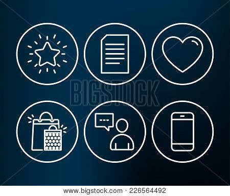 Set Of Document, Users Chat And Shopping Bags Icons. Heart, Rank Star And Smartphone Signs. Informat