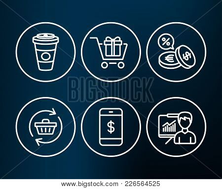 Set Of Smartphone Payment, Currency Exchange And Shopping Cart Icons. Refresh Cart, Takeaway Coffee