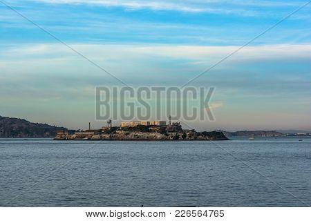 Alcatraz Island At Sunset, San Francisco, California