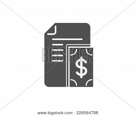 Payment Simple Icon. Document With Cash Money Symbol. Dollar Currency Sign. Quality Design Elements.