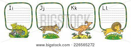 Children Vector Illustration Of Funny Iguana, Jaguar, Kangaroo And Lion. Animals Zoo Alphabet Or Abc