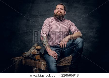 Portrait Of Bearded Male Dressed In A Jeans And Pink Plaid Shirt Sits On A Box Near Firewoods.