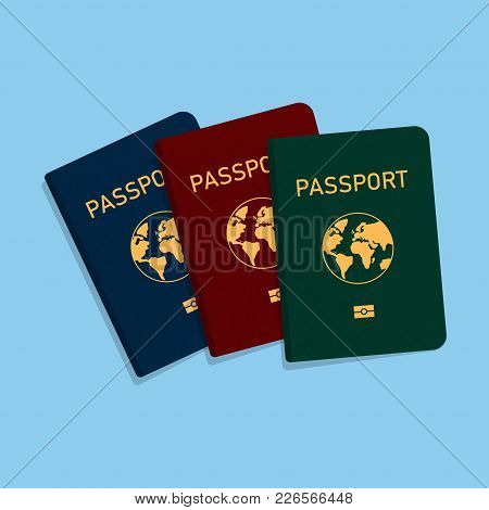 Covers Of Passports Of Different Colors. Flat Design. Vector Illustration