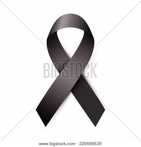 Vector Illustration, Black Awareness Ribbon Isolated On A White Background. Mourning And Melanoma Sy