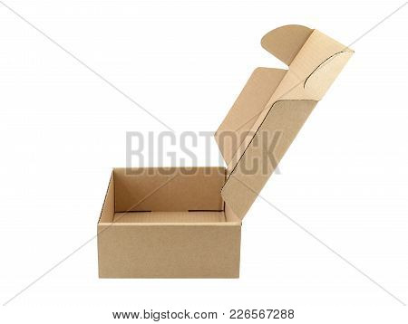 Close-up Side Of Empty Carton Box Open Isolated On White Background, For Postal Delivery