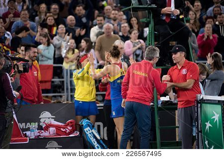 Cluj Napoca, Romania - February 11, 2018: Woman Tennis Players Of Romania Celebrating The Victory Af