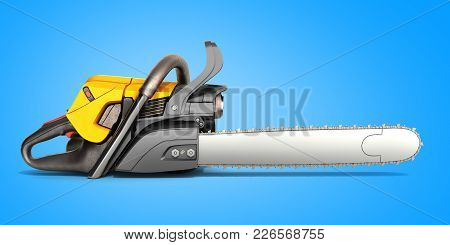 Chainsaw On Blue Back Ground 3d Illustration