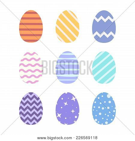 Set Of Easter Eggs Colored In Tender Pastel Tones