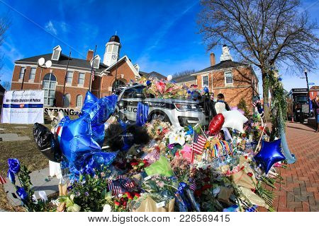 WESTERVILLE, OHIO/USA - FEBRUARY 13, 2018:  The Westerville Police Department has a memorial in front of their building in memory of the fallen officers Morelli and Joering shot in the line of duty.