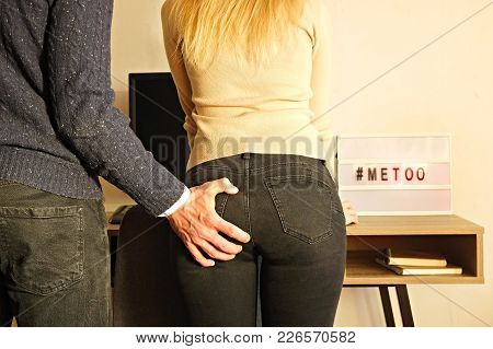 Sexist Businessman Sexually Assault Woman At Workplace, Desk. Violent Male Grabs Grope Female Co Wor