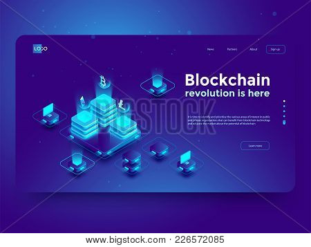 Cryptocurrency And Blockchain Isometric Composition With People, Analysts And Managers Working On Cr