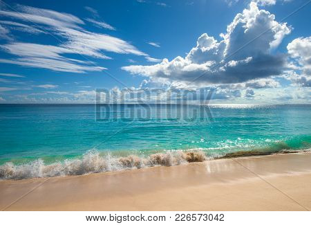 Tropical Island Beach.  Sea, Sand And Sun. Perfect Vacation Background.