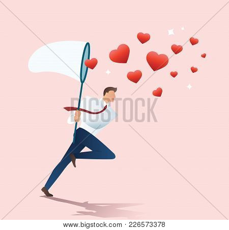 Man Holding A Butterfly Net Trying To Catch Heart Icons Vector Illustration