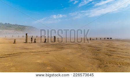 Morning Fog At Sandsend Beach, Near Whitby, North Yorkshire, Uk