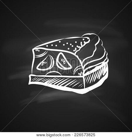 Hand Drawn Chalk Sketch On Blackboard Apple Pie Piece. Hand Drawn Chalk Sketch On Blackboard Food El