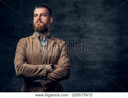Studio Portrait Of Redhead Bearded Male Dressed In A Jacket Over Grey Background.