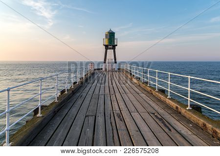 View Towards Whitby Pier, North Yorkshire, Uk
