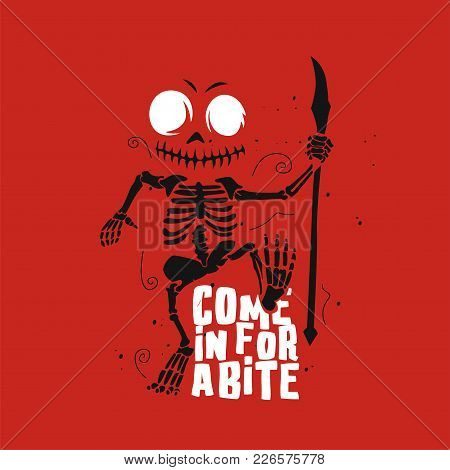The Image Of Horror On Red Background With Typography Vector Illustration Design.