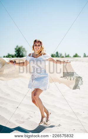 Beautiful Stylish Sexy Young Girl Goes, Running Alongon Sand, Beach In The Nature. Style Boho. Party