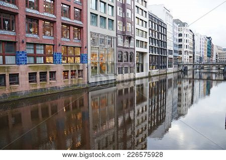 The Canals Of Hamburg On The Elbe River. Beautiful River Channels In The Old City Of Hamburg. Winter