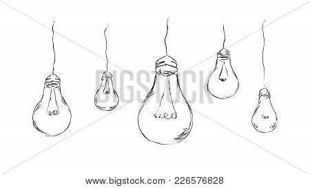 Stylish, Painted Light Bulbs For Background, Interior, Design, Advertising. Vector Sketch