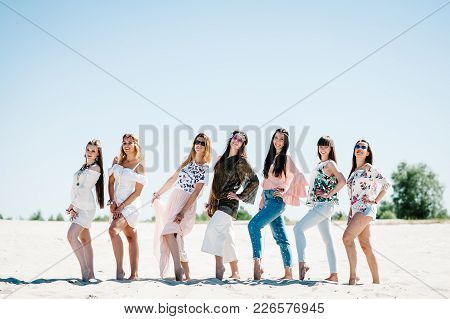 Beautiful Stylish Happy Sexy Slim Young Girls Standding Sand Beach. Party In Style Boho. Maiden Even