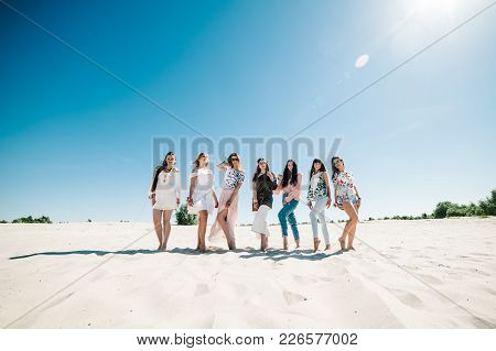 Beautiful Stylish Happy Sexy Slim Young Girls Standding Sand Beach. Party In Style Boho. Bachelorett