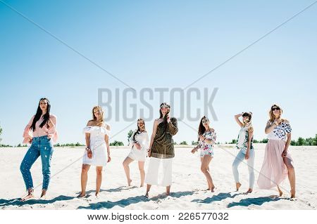 Beautiful Stylish Happy Sexy Slim Young Girls Standding Sand Beach. Hands Decorated Buttonhole, Buto