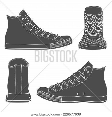 Vector Set With Sneakers, Gumshoes. Isolated Objects On White Background.