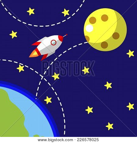 Business Startup, New Project. Flat Design Style Modern  Illustration. Rocket Flying From Earth To M
