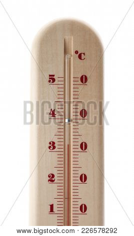 Weather thermometer on white background