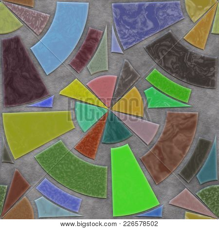 Art Mosaic- Stones And Marble. Home Decor: Floor, Abstract Geometric Background. Wall Intricate Patt