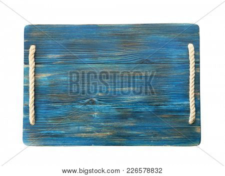 Wooden board on white background. Handcrafted cooking utensils