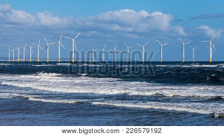 North Sea Coast And Wind Turbines In Redcar, Redcar And Cleveland, Uk