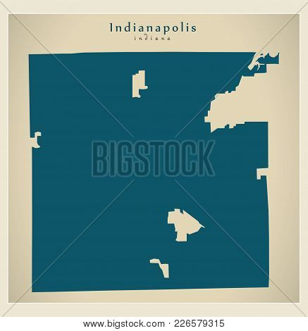 Modern Map - Indianapolis Indiana City Of The Usa