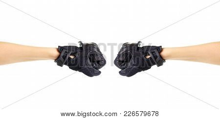 Sport Black Moto Gloves. Two Fists In Gloves. Isolated On White Background.
