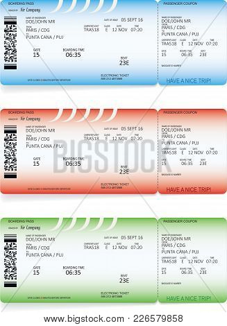 Blue, Green And Red Airline Boarding Pass Tickets For Traveling By Plane. Vector Illustration.