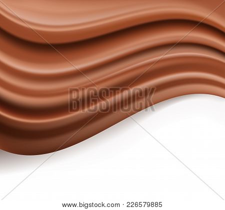 Chocolate Background. Abstract Creamy Brown Waves Flowing Over White. Vector Illustration On Dessert