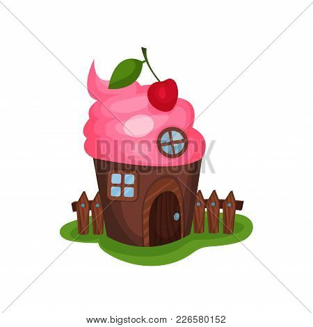 Small Fancy House In Shape Of Cupcake Or Ice-cream. Home With Wooden Door, Round And Square Windows,