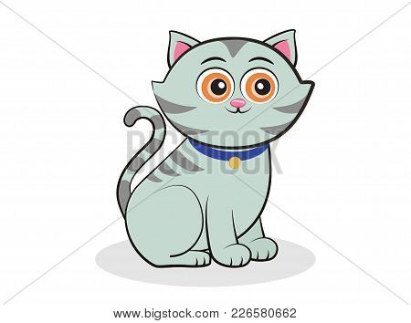 Cute Cat On White Background, Vector Illustration
