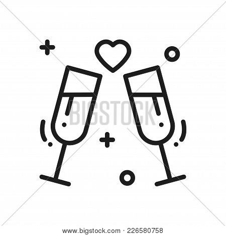 Two Glasses, Romantic Toast Line Icon. Wedding Sign And Symbol. Binge, Drink, Champagne, Wine. Weddi