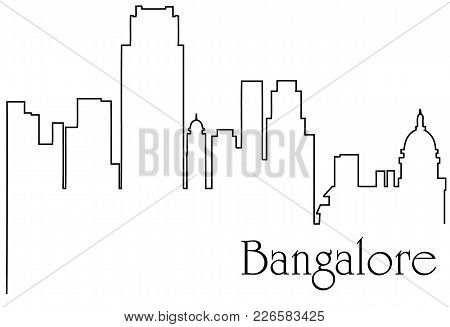 Bangalore city one line drawing abstract background with  metropolis cityscape - vector illustration poster