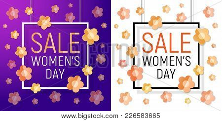 Vector Womens Day White Paper Frame Sale Text On Red Background With Paper Bright Yellow - Orange Fl