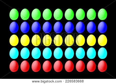 Set Of Colorful Eggs On A Black Background, Laid In A Line. Isolated